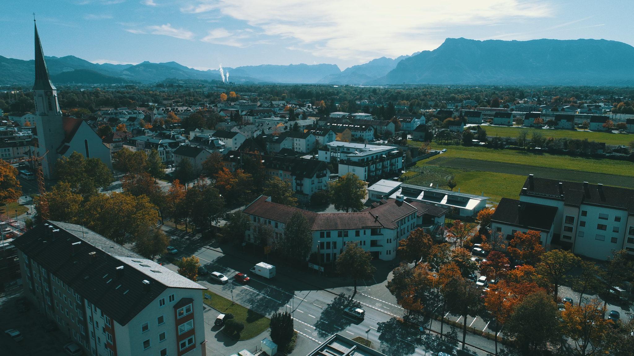 Markus Hiebl | unabhängiger Bürgermeisterkandidat Freilassing – Luftbild des Zentrums von Freilassing